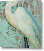 White Crane Metal Print by Billie Colson