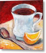 White Cup With Lemon Wedge And Spoon Grace Venditti Montreal Art Metal Print