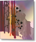 White Deer Climbing Mountains - Abstract And Colorful Forest Metal Print