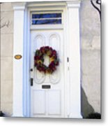 White Door In Charleston Sc Metal Print by Susanne Van Hulst