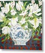 White Double Tulips And Alstroemerias Metal Print