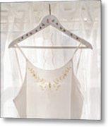 White Dress On Clothes Hanger Metal Print