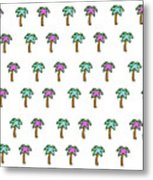 White Epic Palm Tree Print Metal Print