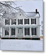 White Farm House During Winter Metal Print