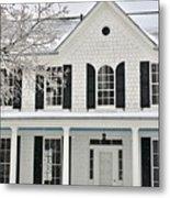 White Farm House In Winter Metal Print