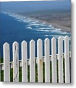 White Fence And Waves Metal Print