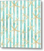 White Finger Starfish Watercolor Stripe Pattern Metal Print
