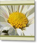 White Flower Abstract With Border Metal Print