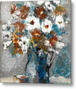 White Flower In Vase And Mug Metal Print