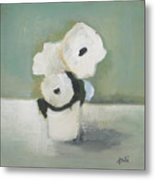 White Flowers In Vase Metal Print