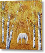 White Horse In Golden Woods Metal Print