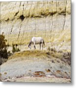 White Horse On A Mound Metal Print