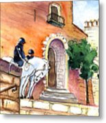 White Horses By The Cathedral In Palma De Mallorca 02 Metal Print