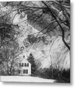 White House In Winter Metal Print
