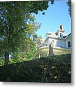 White House With Hillside Shade Metal Print