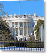 White House South Lawn With Snow Metal Print
