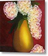 White Hydrangeas In A Golden Vase Metal Print