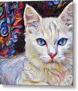 White Kitten With Blue Eyes Metal Print