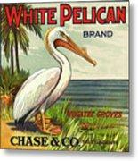 White Pelican Fruit Crate Label C. 1920 Metal Print