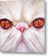 White Persian Cat Metal Print