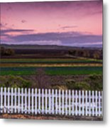 White Picket Fence Looking Over Farmland  Metal Print