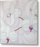 White Pink Orchide Metal Print