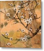 White Plum Blossoms With Pine Tree Metal Print