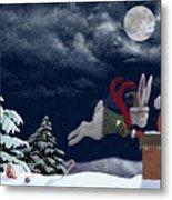 White Rabbit Christmas Metal Print