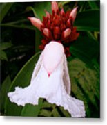 White Rainforest Flower Metal Print