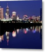White River Reflects Indy Skyline Metal Print