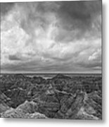 White River Valley Overlook Panorama 2 Bw Metal Print