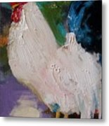 White Rooster Metal Print