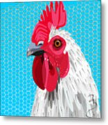 White Rooster With Blue Background Metal Print