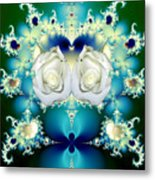 White Roses  And Blue Satin Bouquet Fractal Abstract Metal Print