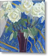 White Roses With Red And Blue Metal Print