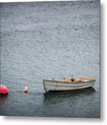 White Rowboat And Seagull Metal Print