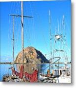 White Sail Boat Morro Rock  Metal Print