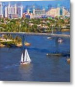 White Sailboat On The Water Metal Print