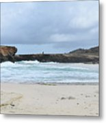 White Sand Beach And Large Rock Formations In Aruba Metal Print