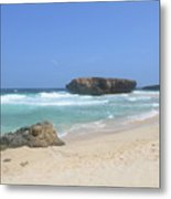 White Sand Beaches, Waves And A Rock Formation In Aruba Metal Print