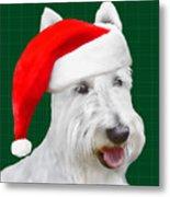 White Scottish Terrier Christmas Plaid Metal Print