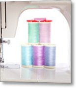 White Sewing Machine And Colorful Threads Metal Print
