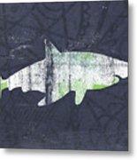 White Shark- Art By Linda Woods Metal Print