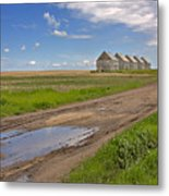 White Sheds On A Prairie Farm In Spring Metal Print