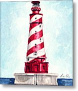 White Shoal Lighthouse Michigan Nautical Light House Red And White Candycane Stripes Metal Print