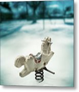 White Spring Horse Metal Print