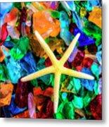 White Starfish On Sea Glass Metal Print
