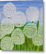 White Sunflowers, Painting Metal Print