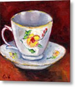 White Tea Cup With Yellow Flowers Grace Venditti Montreal Art Metal Print