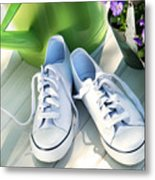 White Tennis Running Shoes Metal Print by Sandra Cunningham